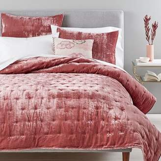 west elm Lush Velvet Tack Stitch Quilt - Pink Grapefruit