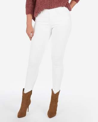 Express Mid Rise White Denim Perfect Stretch+ Jean Leggings