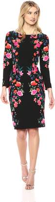 Eliza J Women's Floral Midi-Length Sheath Dress, Black/Pink