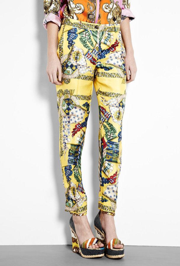 D&G Scarf Print Silk Trousers