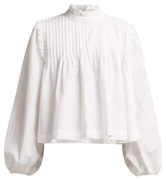 Ganni Olayan Pintuck Cotton Poplin Blouse - Womens - White