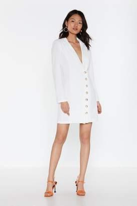 Nasty Gal Womens Blazer The Roof Button-Down Mini Dress - White - S, White