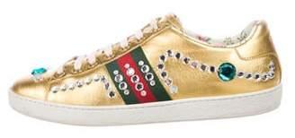 Gucci Metallic Crystal Ace Sneakers