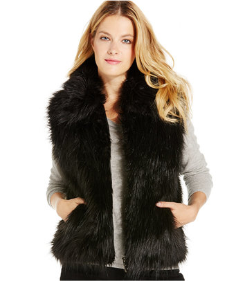 INC International Concepts Collared Faux Fur Vest, Only at Macy's $99.50 thestylecure.com