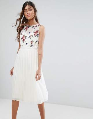 Little Mistress Midi Dress With Embroidered Bodice