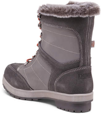 Leather And Suede Lace Up Winter Boots