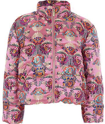Girls Pink jacquard puffer jacket