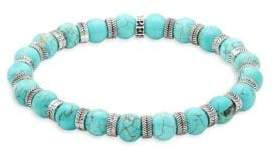 Stainless Steel & Turquoise Beaded Bracelet