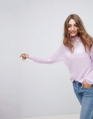 Asos Design Jumper In Fluffy Stitch With Ruffle Neck