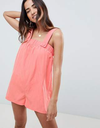 Asos Design DESIGN Pinny Playsuit In Modal