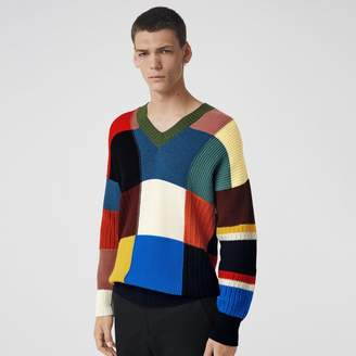 Burberry Patchwork Wool V-neck Sweater, Blue