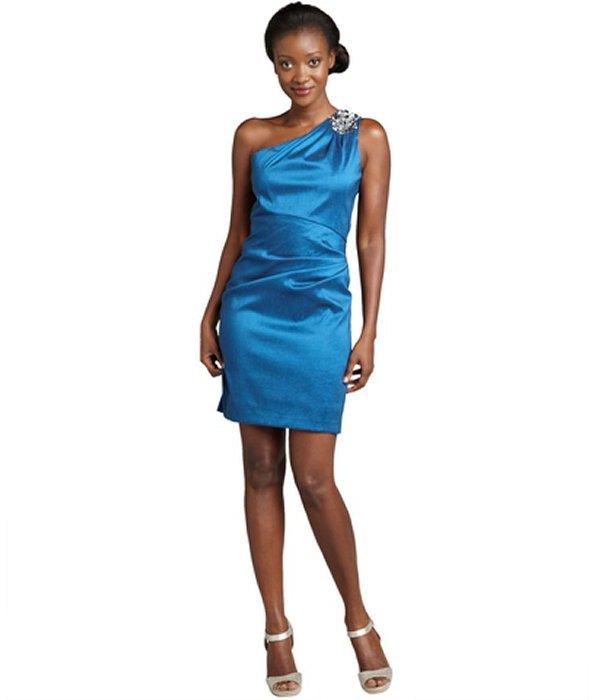 Hayden blue woven embellished one-shoulder cocktail dress