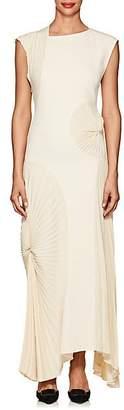 Victoria Beckham Women's Pleated-Inset Crepe Long Dress - Milk
