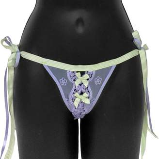 Rene Rofe Necessary Objects Ribbon Tie Thong Panty, Large, Lavender