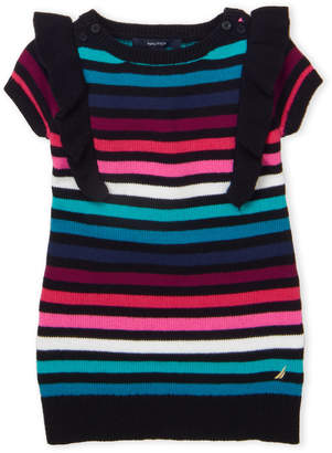 Nautica Toddler Girls) Stripe Ruffle Sweater Dress