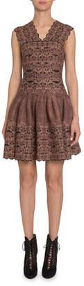 Alaia Floral Velvet-Burnout V-Neck Fit-&-Flare Dress