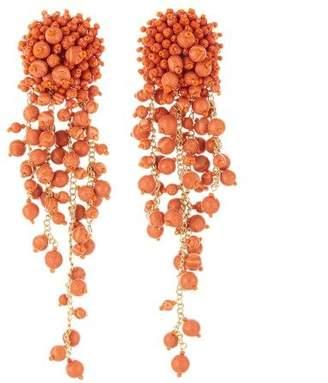 Oscar de la Renta Bead and Chain Earrings