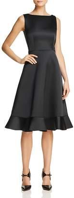 Paule Ka Ruffled-Hem Duchess Satin Dress