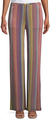 Trina Turk Penelope Daybreak Stripe-Knit Wide-Leg Pants