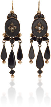 Fox and Bond Victorian Onyx And 14K Gold Chandelier Earrings