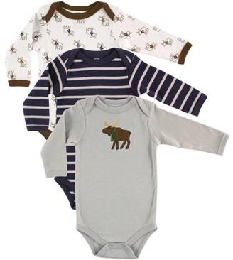 Hudson Baby Newborn Boy Long-Sleeve Bodysuits, 3-Pack