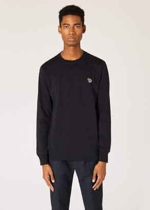 Paul Smith Men's Black Organic-Cotton Zebra Logo Long-Sleeve T-Shirt