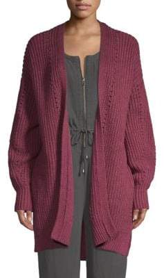 Free People Cable-Knit Open-Front Cardigan