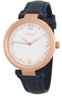 Nixon Chameleon Leather Stainless Steel Quartz Strap Watch