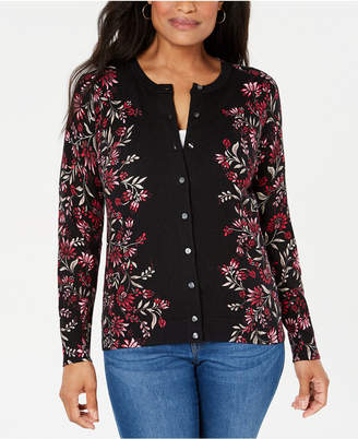 Karen Scott Floral-Print Button-Up Cardigan