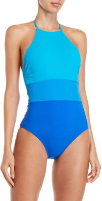 Diane von Furstenberg Color Block Halter One-Piece Swimsuit