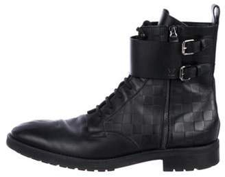 Louis Vuitton Leather Combat Boots black Leather Combat Boots