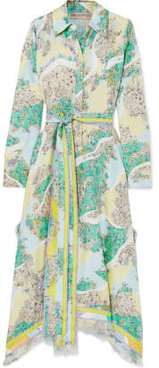 Emilio Pucci Fringed Printed Silk-twill Midi Dress - Green