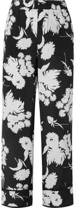 Ganni Kochhar Floral-print Silk Crepe De Chine Straight-leg Pants - Black