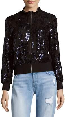 Rebecca Taylor Women's Sequin Zip-Front Bomber Jacket