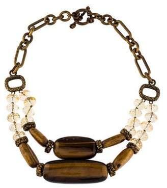 Stephen Dweck Tiger's Eye, Coral & Citrine Statement Collar Necklace