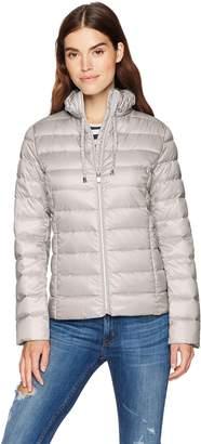 Via Spiga Women's Ruffle Detail Stand Collar Lightweight Packable Down Coat