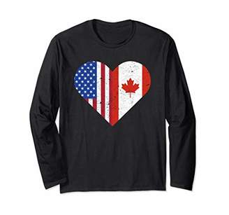 Canada Flag Canadian American Hometown Vintage Gift Long Sleeve T-Shirt