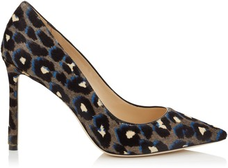Jimmy Choo ROMY 100 Pop Blue Mix Leopard Print Pony Pointed Toe Pumps