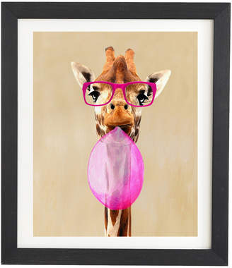Deny Designs Deny Design Coco De Paris Clever Giraffe With Bubblegum Framed Wall Art