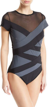 Magicsuit Reagan Cap-Sleeve Colorblock One-Piece Swimsuit