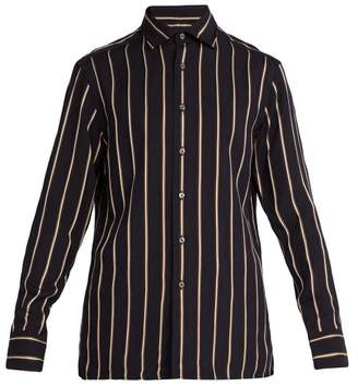 Dunhill Point Collar Striped Cotton Shirt - Mens - Navy