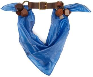 Preen by Thornton Bregazzi Leather Trimmed Neck Scarf - Womens - Blue