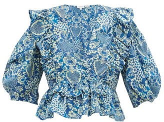 Rhode Resort Elodie Floral Print Cotton Voile Blouse - Womens - Blue Print