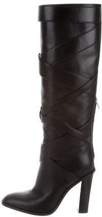 Saint LaurentYves Saint Laurent Leather Crossover Boots