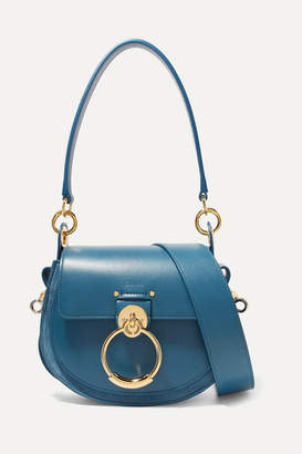 Chloé Tess Leather And Suede Shoulder Bag - Blue