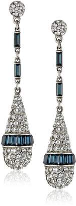 Ben-Amun Jewelry Silver-Tone Simulated and Crystal Drop Earrings