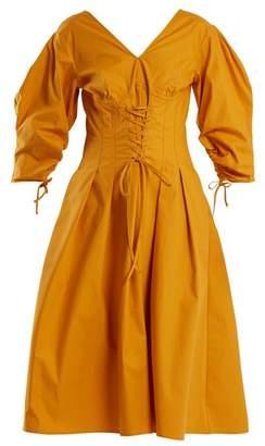 Sea Windbreaker Corset Waist Cotton Blend Dress - Womens - Yellow