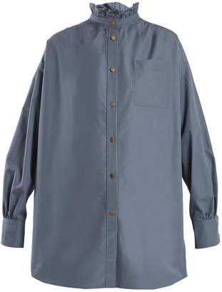 Sonia Rykiel Ruffled-neck cotton-poplin shirt