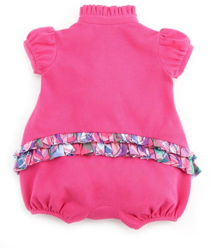 Ralph Lauren Pique Ruffle-Trim Bubble Playsuit, Belmont Pink