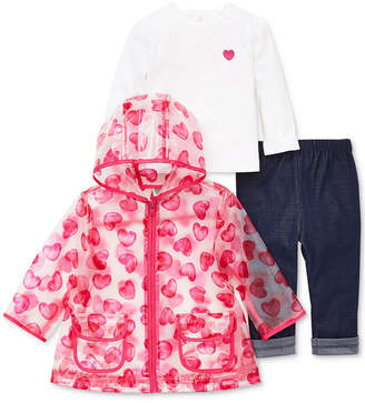 Little Me Baby Girls 3-Pc. Heart-Print Jacket, Top & Jeans Set